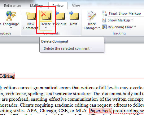 Click Delte to Remove an Editor Comment