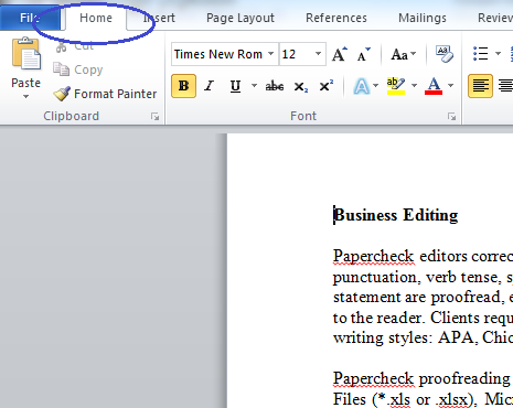 Click on the Home Tab of Your Microsoft Word 2010