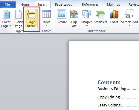 Click Page Break to Separate the Table of Contents From The Rest of the Document