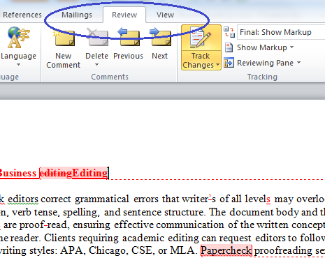 Locate the Review Tab in Word 2010