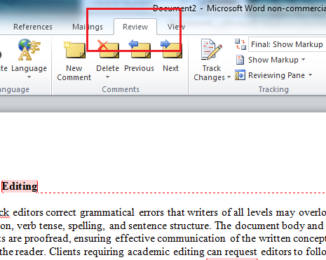 Microsoft Remove Editor Comments Word 2010