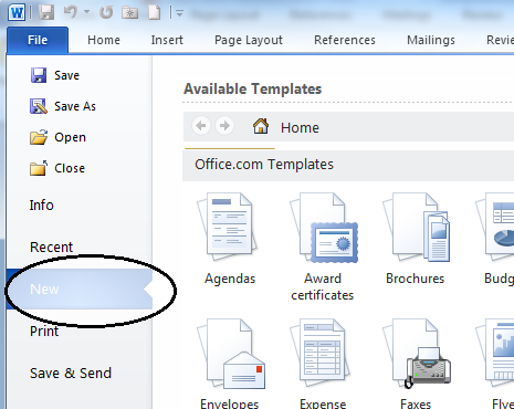 click new in word 2010 - Microsoft Word 2010 Resume Templates