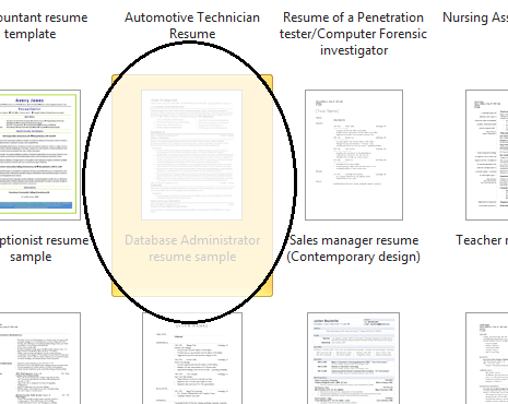select the resumes that matches your occupation - Microsoft Word 2010 Resume Templates