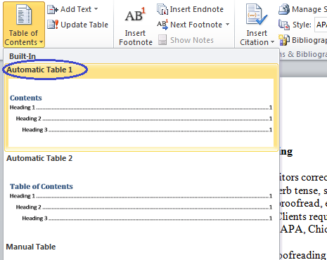 table of contents template word 2010 microsoft table of contents word 2010