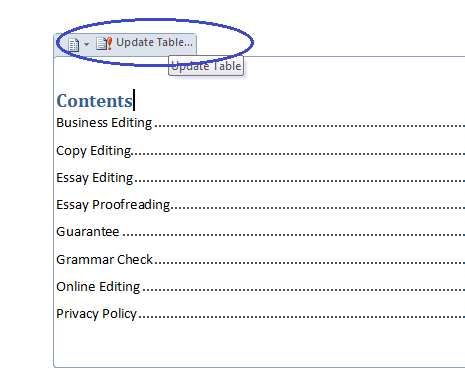 microsoft table of contents word  update the table of contents one click