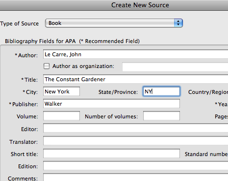 Complete the Information In the Create New Source Window
