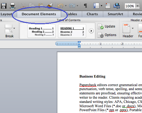 Locate the Document Elements tab