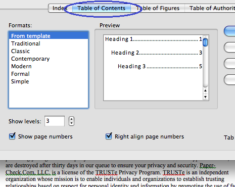 Insert a table of contents into a word-processing document, format the text, and add leader lines