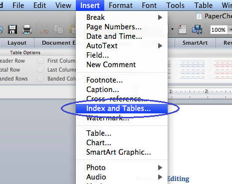 Microsoft Table of Contents — Word 2011 (Mac)