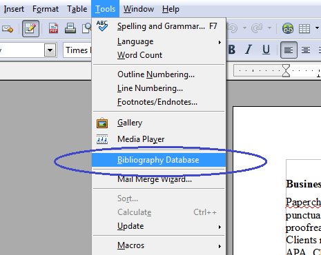 Locate the Bibliography Database Under the Tools Menu