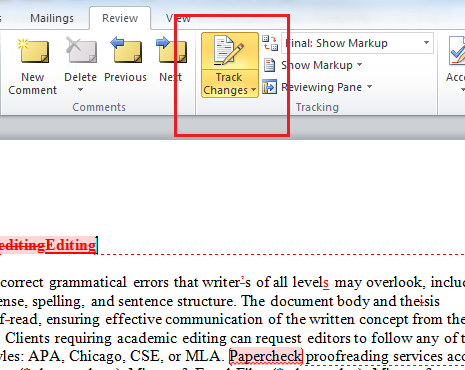 microsoft word tracking